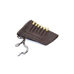 Handmade leather rifle stock ammo pouch for 6 bullets