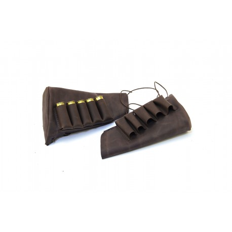 Handmade leather rifle stock ammo pouch for 5 shells