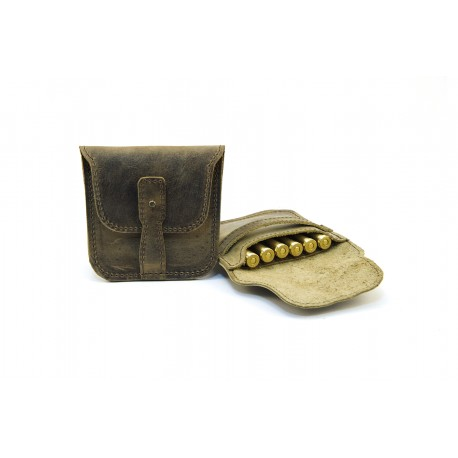 Handmade hunting leather ammo pouch for 6 bullets
