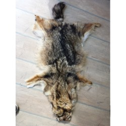 Wolf pelt - handmade leather rug