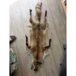 Handmade leather rug from single fox pelt