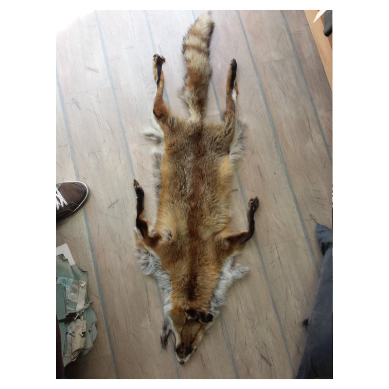Handmade leather rug from wolf pelts